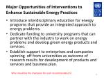 major opportunities of interventions to enhance sustainable energy practices1