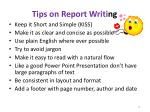 tips on report writi ng