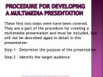 procedure for developing a multimedia presentation1