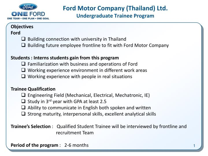 Ppt ford motor company thailand ltd undergraduate for Ford motor company employee login