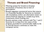 threats and brand financing