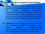 benchmarks for an integrated capital market