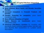 expected benefits of capital markets integration