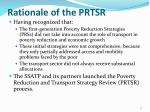 rationale of the prtsr