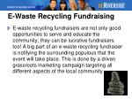 e waste recycling fundraising