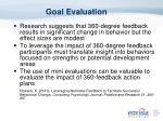goal evaluation