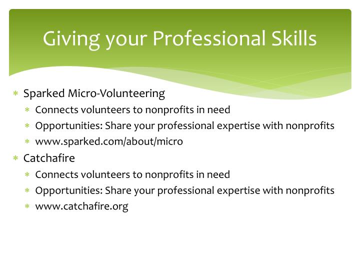 Giving your Professional Skills