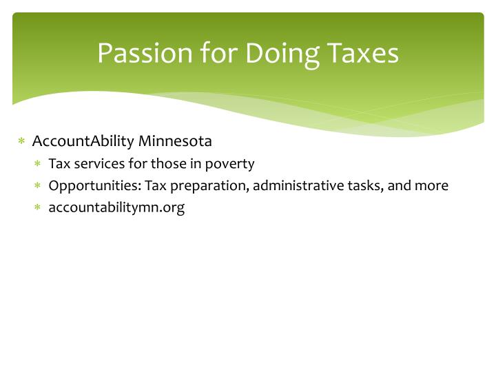 Passion for Doing Taxes