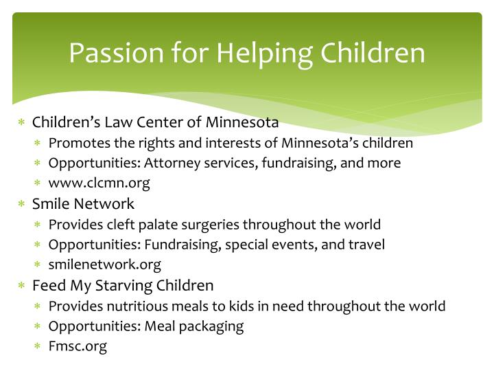 Passion for Helping Children