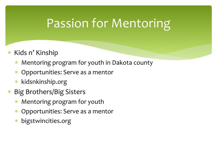Passion for Mentoring