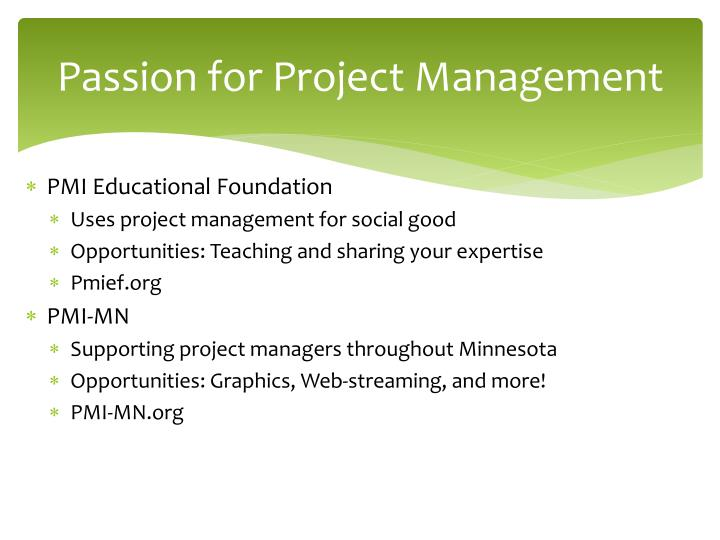 Passion for Project Management