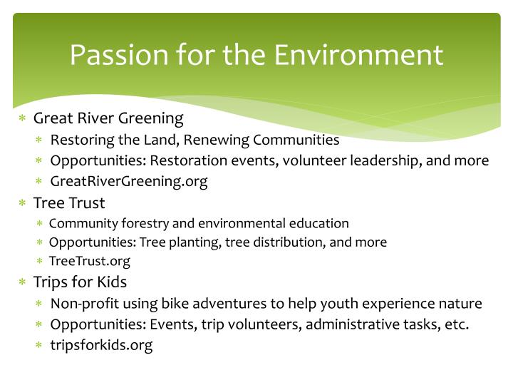 Passion for the Environment