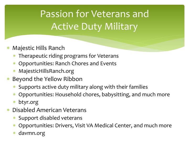 Passion for Veterans and