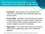 national aged care alliance discussion paper assessment and the aged care service system