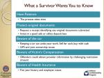 what a survivor wants you to know