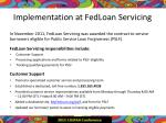 implementation at fedloan servicing