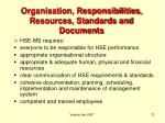 organisation responsibilities resources standards and documents