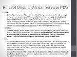 rules of origin in african services ptas