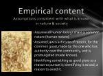 empirical content assumptions consistent with what is known in nature society