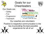 goals for our cheerleaders