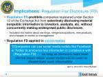 implications regulation fair disclosure fd