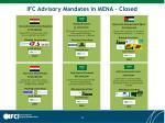 ifc advisory mandates in mena closed
