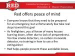 red offers peace of mind