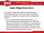 sales objections do s