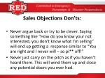 sales objections don ts