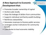 a new approach to economic development that