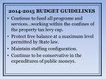 2014 2015 budget guidelines