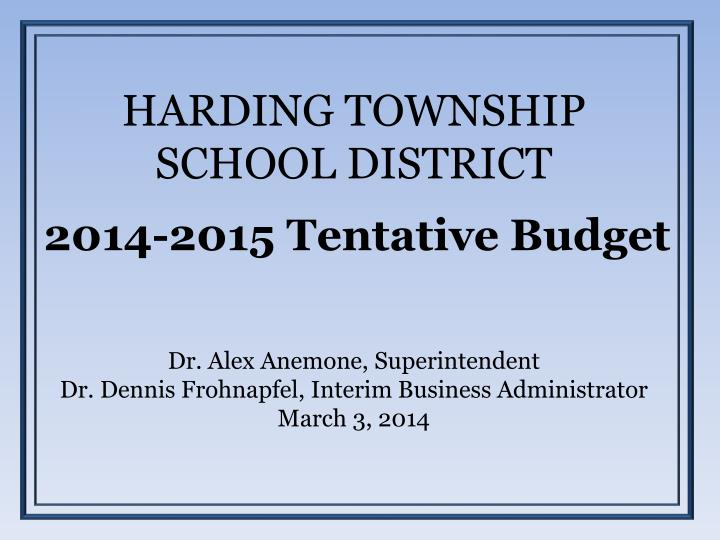 harding township school district n.