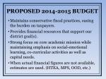 proposed 2014 2015 budget