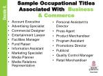 sample occupational titles associated with business commerce