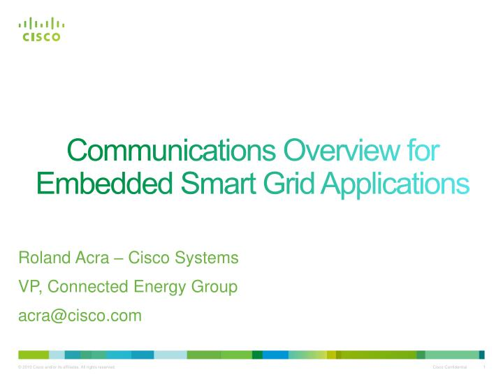 communications overview for embedded smart grid applications n.