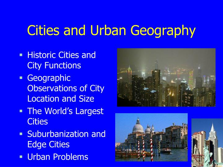 cities and urban geography n.