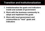 transition and institutionalization