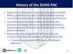 history of the duhs pac