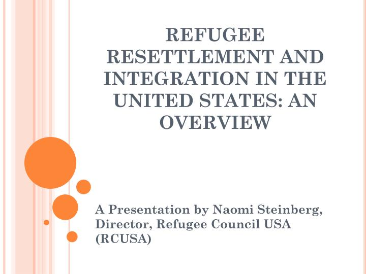 refugee resettlement and integration in the united states an overview n.