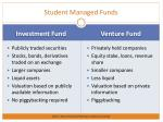 student managed funds