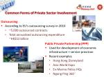 common forms of private sector involvement