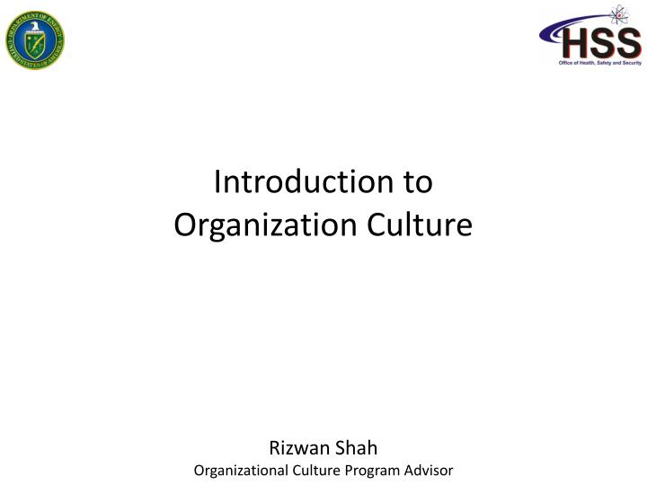 introduction to organization culture n.