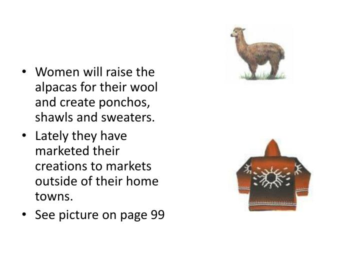 Women will raise the alpacas for their wool and create ponchos, shawls and sweaters.