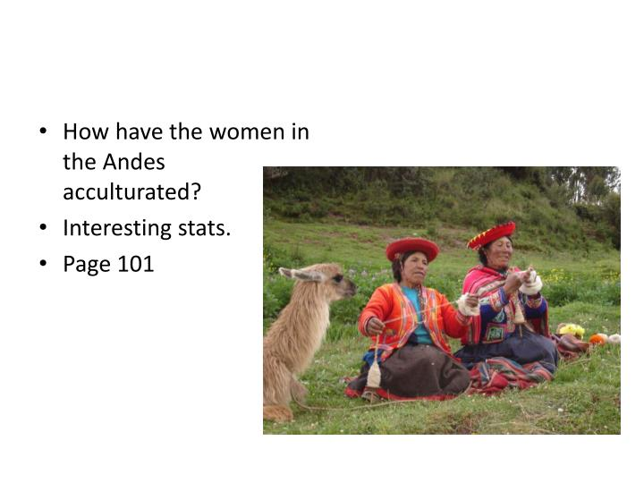 How have the women in the Andes acculturated?