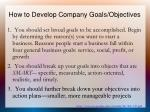 how to develop company goals objectives