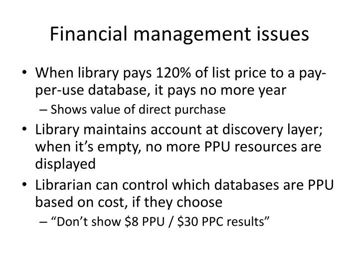 Financial management issues