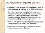 best in genomics expected outcomes
