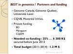 best in genomics partners and funding