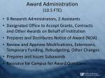 award administration 10 5 fte