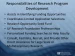 responsibilities of research program development